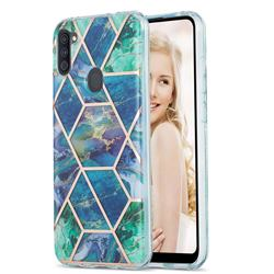 Blue Green Marble Pattern Galvanized Electroplating Protective Case Cover for Samsung Galaxy A11