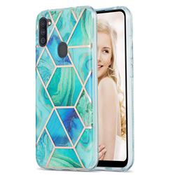 Green Glacier Marble Pattern Galvanized Electroplating Protective Case Cover for Samsung Galaxy A11