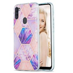 Purple Dream Marble Pattern Galvanized Electroplating Protective Case Cover for Samsung Galaxy A11