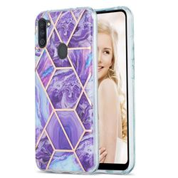 Purple Gagic Marble Pattern Galvanized Electroplating Protective Case Cover for Samsung Galaxy A11