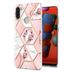 Pink Flower Marble Electroplating Protective Case Cover for Samsung Galaxy A11