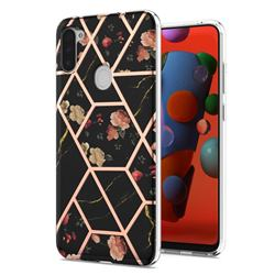 Black Rose Flower Marble Electroplating Protective Case Cover for Samsung Galaxy A11