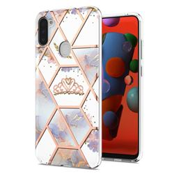 Crown Purple Flower Marble Electroplating Protective Case Cover for Samsung Galaxy A11