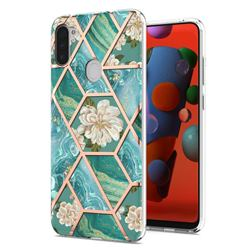Blue Chrysanthemum Marble Electroplating Protective Case Cover for Samsung Galaxy A11