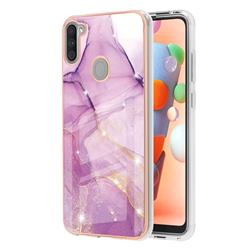 Rose Gold Dancing Electroplated Gold Frame 2.0 Thickness Plating Marble IMD Soft Back Cover for Samsung Galaxy A11