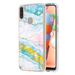 Green Golden Electroplated Gold Frame 2.0 Thickness Plating Marble IMD Soft Back Cover for Samsung Galaxy A11