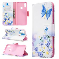 Butterflies Flowers Leather Wallet Case for Samsung Galaxy A11