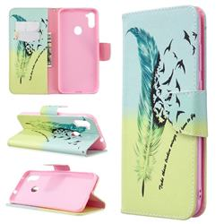 Feather Bird Leather Wallet Case for Samsung Galaxy A11