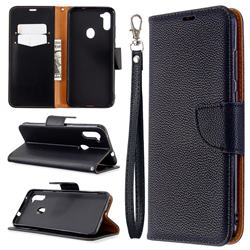 Classic Luxury Litchi Leather Phone Wallet Case for Samsung Galaxy A11 - Black