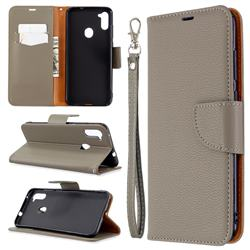 Classic Luxury Litchi Leather Phone Wallet Case for Samsung Galaxy A11 - Gray