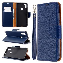 Classic Luxury Litchi Leather Phone Wallet Case for Samsung Galaxy A11 - Blue