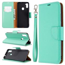 Classic Luxury Litchi Leather Phone Wallet Case for Samsung Galaxy A11 - Green