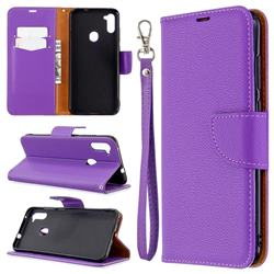 Classic Luxury Litchi Leather Phone Wallet Case for Samsung Galaxy A11 - Purple