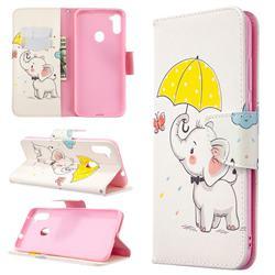 Umbrella Elephant Leather Wallet Case for Samsung Galaxy A11