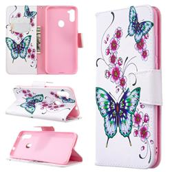 Peach Butterflies Leather Wallet Case for Samsung Galaxy A11