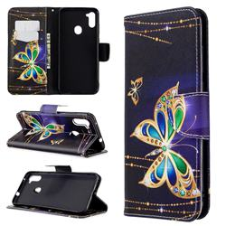 Golden Shining Butterfly Leather Wallet Case for Samsung Galaxy A11