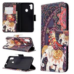 Totem Flower Elephant Leather Wallet Case for Samsung Galaxy A11