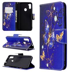 Purple Butterfly Leather Wallet Case for Samsung Galaxy A11