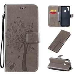 Embossing Butterfly Tree Leather Wallet Case for Samsung Galaxy A11 - Grey