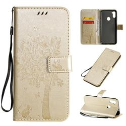 Embossing Butterfly Tree Leather Wallet Case for Samsung Galaxy A11 - Champagne