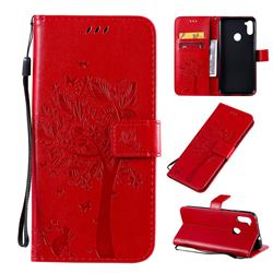 Embossing Butterfly Tree Leather Wallet Case for Samsung Galaxy A11 - Red