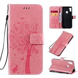 Embossing Butterfly Tree Leather Wallet Case for Samsung Galaxy A11 - Pink