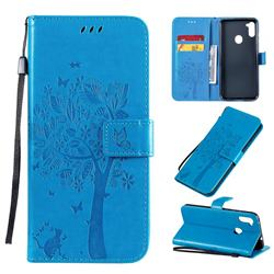 Embossing Butterfly Tree Leather Wallet Case for Samsung Galaxy A11 - Blue