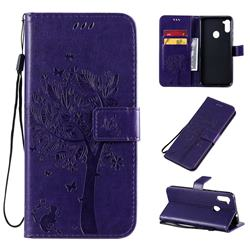 Embossing Butterfly Tree Leather Wallet Case for Samsung Galaxy A11 - Purple
