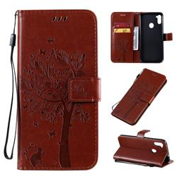Embossing Butterfly Tree Leather Wallet Case for Samsung Galaxy A11 - Coffee