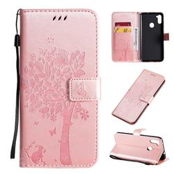 Embossing Butterfly Tree Leather Wallet Case for Samsung Galaxy A11 - Rose Pink