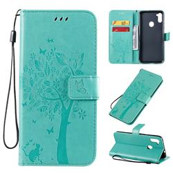 Embossing Butterfly Tree Leather Wallet Case for Samsung Galaxy A11 - Cyan