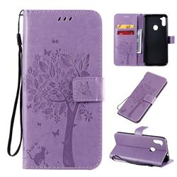 Embossing Butterfly Tree Leather Wallet Case for Samsung Galaxy A11 - Violet