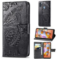 Embossing Mandala Flower Butterfly Leather Wallet Case for Samsung Galaxy A11 - Black
