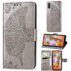 Embossing Mandala Flower Butterfly Leather Wallet Case for Samsung Galaxy A11 - Gray