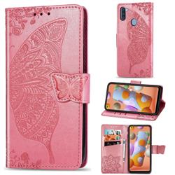 Embossing Mandala Flower Butterfly Leather Wallet Case for Samsung Galaxy A11 - Pink