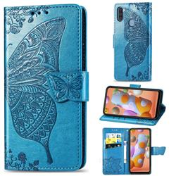 Embossing Mandala Flower Butterfly Leather Wallet Case for Samsung Galaxy A11 - Blue