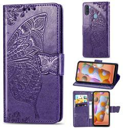 Embossing Mandala Flower Butterfly Leather Wallet Case for Samsung Galaxy A11 - Dark Purple