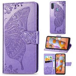Embossing Mandala Flower Butterfly Leather Wallet Case for Samsung Galaxy A11 - Light Purple