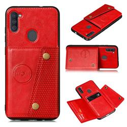 Retro Multifunction Card Slots Stand Leather Coated Phone Back Cover for Samsung Galaxy A11 - Red