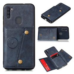 Retro Multifunction Card Slots Stand Leather Coated Phone Back Cover for Samsung Galaxy A11 - Blue