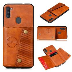 Retro Multifunction Card Slots Stand Leather Coated Phone Back Cover for Samsung Galaxy A11 - Brown
