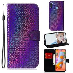 Laser Circle Shining Leather Wallet Phone Case for Samsung Galaxy A11 - Purple