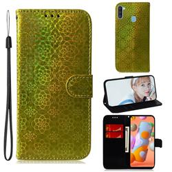 Laser Circle Shining Leather Wallet Phone Case for Samsung Galaxy A11 - Golden
