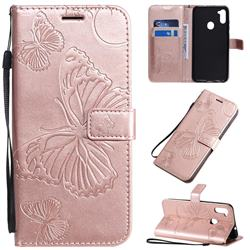 Embossing 3D Butterfly Leather Wallet Case for Samsung Galaxy A11 - Rose Gold