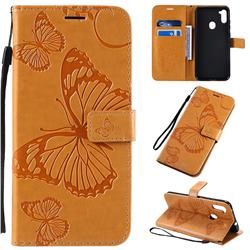 Embossing 3D Butterfly Leather Wallet Case for Samsung Galaxy A11 - Yellow