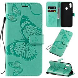 Embossing 3D Butterfly Leather Wallet Case for Samsung Galaxy A11 - Green