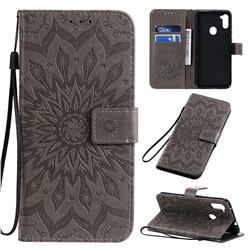 Embossing Sunflower Leather Wallet Case for Samsung Galaxy A11 - Gray