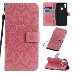 Embossing Sunflower Leather Wallet Case for Samsung Galaxy A11 - Pink