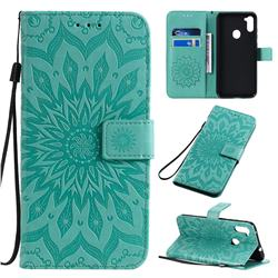 Embossing Sunflower Leather Wallet Case for Samsung Galaxy A11 - Green