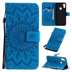 Embossing Sunflower Leather Wallet Case for Samsung Galaxy A11 - Blue